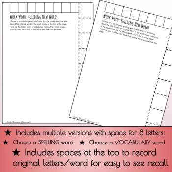 Word Work - Building Vocabulary Words