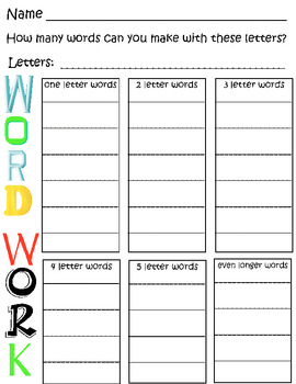 Word Work - Building Words Worksheet by Neeti Gregg | TpT
