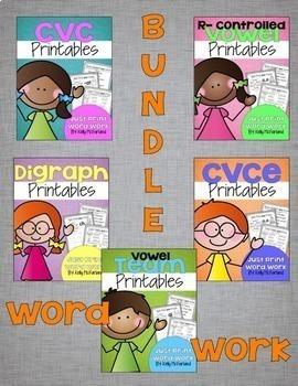 Word Work Printables Bundle