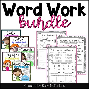 Word Work Printables Bundle by Lattes and Lunchrooms | TpT