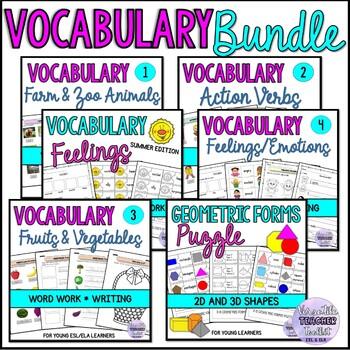 Word Work Bundle 2: Animals, fruits, vegetable, feelings, verbs, geometric forms