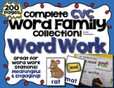Word Work Set - 27 Word Families - 115 Picture - Word Cards - CVC