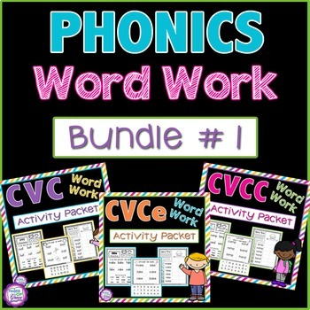 Phonics Word Work Bundle-CVC, CVCe, & CVCC NO PREP PRINTABLES