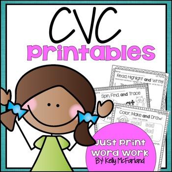 Word Work {CVC Word Printables}