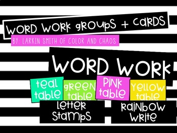 EDITABLE Word Work Cards and Groups
