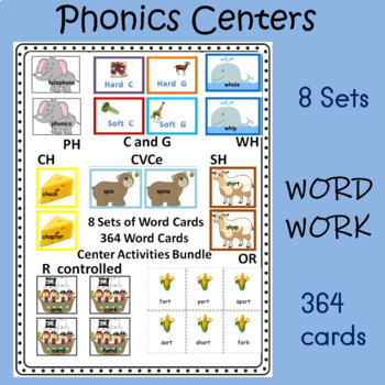 Phonics Pack Reading Fluency Word Work Phonics Centers 364 cards 8 Sets