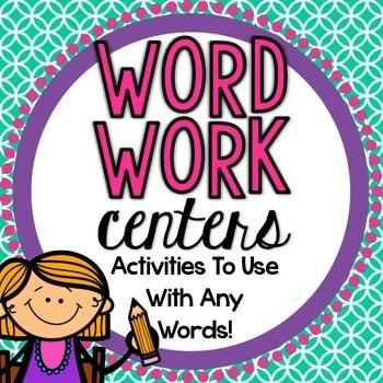 Word Work Center Activities Pack