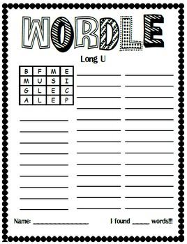 Word Work Center: Boggle Making Words Set 1