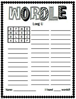 Word Work Center: Boggle Making Words Set 1