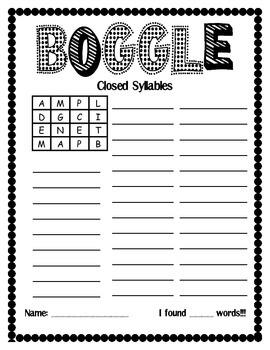 Word Work Center:  Boggle/Making Words Set 3