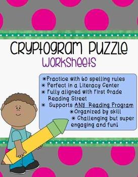 **Word Work Center** Cryptogram Puzzle Worksheets {Program Aligned}