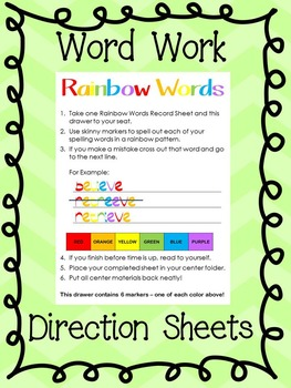 Word Work Center: Instruction Sheets