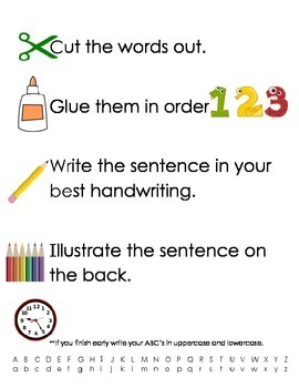 Word Work Center Instructions with Picture Cues for Sentence Mix Ups