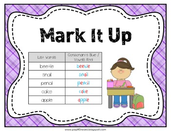 Word Work Center Posters and Matching Worksheets Packet