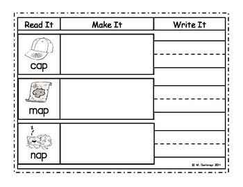 Word Work Center Read It, Make It, Write It: Short A FREEBIE!