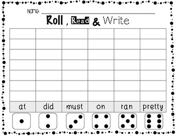 **Word Work Center** Roll, Read & Write Primer Sight Words Worksheets {FREEBIE}