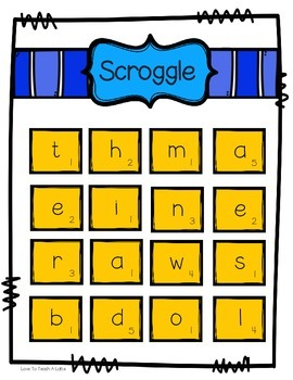 Word Work Center SAMPLE: Scroggle