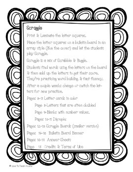 Word Work Center: Scroggle