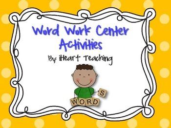Word Work Center Spelling Activities
