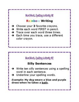 Word Work Center: Spelling Activities