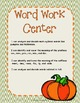 October Word Work Centers (3rd Grade)