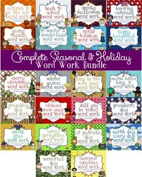 Word Work Centers: Seasonal & Holidays COMPLETE BUNDLE