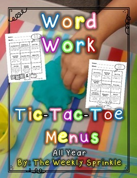 Word Work Centers Tic-Tac-Toe Board All Year