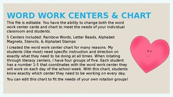 Word Work Centers + Weekly Rotation Chart