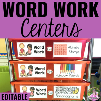 Word Work Centers for the Year - Fully-EDITABLE with Stora