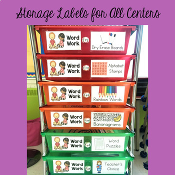 Word Work Centers for the Year - Fully-EDITABLE with Storage Labels