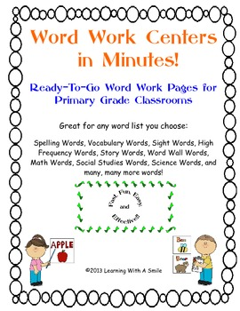 Word Work Centers in Minutes! Ready-To-Go Word Work Pages for Primary Grades