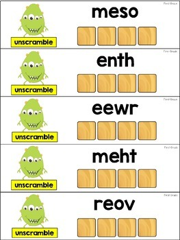 Word Work Sight Word Centers with Scrabble Tiles - First Grade Words
