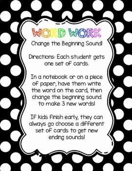 Word Work: Change the Beginning Sound Card Set