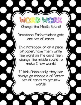 Word Work: Change the Middle Sound Card Set