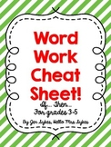 Word Work Cheat Sheet Upper Elementary