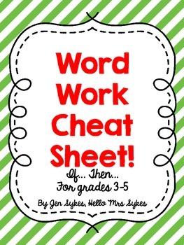 Word Work Cheat Sheet Upper Elementary