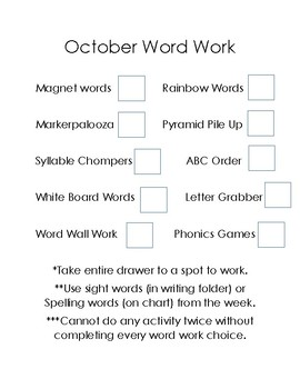 Word Work Checklist