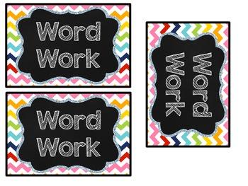 Word Work: Chevron Rainbow Tub Labels