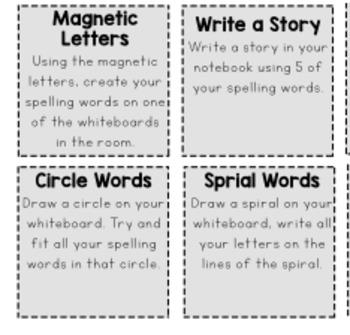 Word Work Choice Board