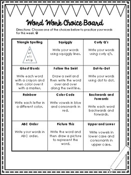 Weekly Word Work Choice Board and Example Sheet