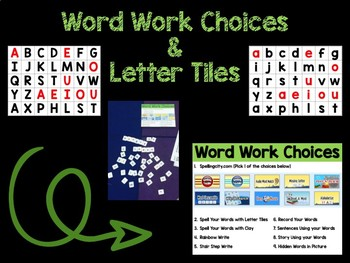 Word Work Choice Board and Letter Tiles