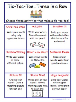 Word Work Choice Board for Literacy Center