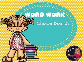 Word Work Choice Boards
