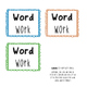 Word Work Choice Boards Words Their Way