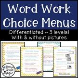 Word Work Choice Menus