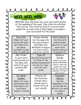 Word Work Choice Sheet