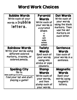 Word Work Choices {Homework or Centers}