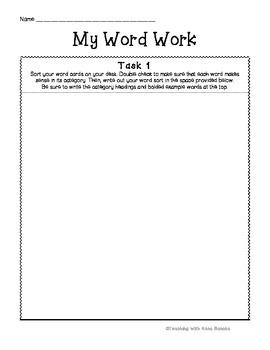 Word Work Classroom Practice Sheet