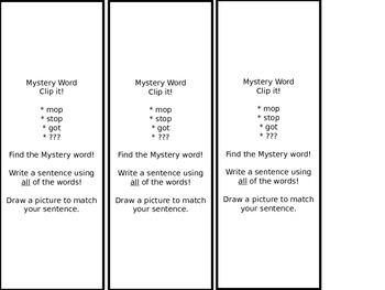 Word Work - Clip It