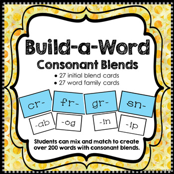 Consonant Blends Word Building Cards